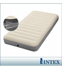 INTEX豪華乳白色線拉單人充氣床